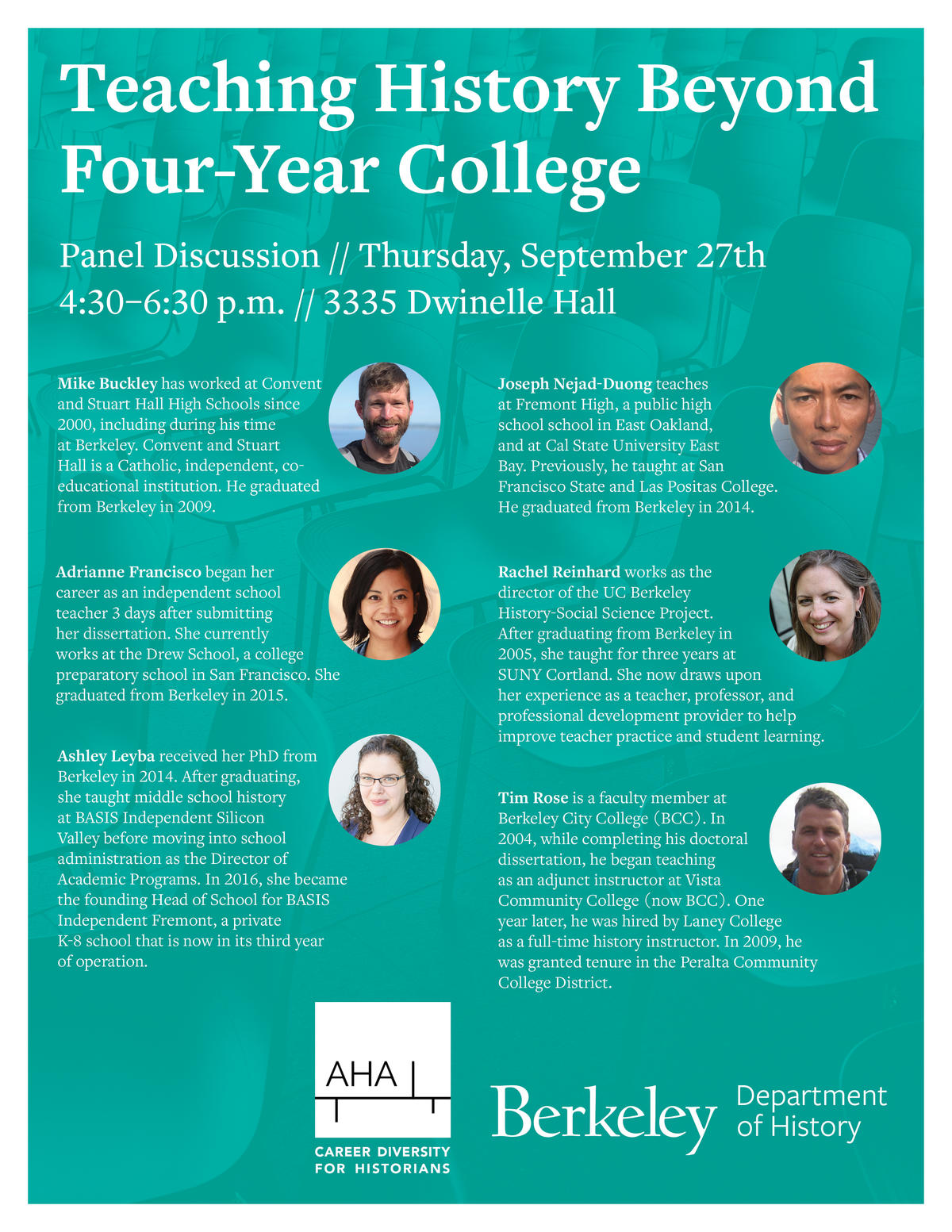 Flyer for Alumni Panel on Teaching History Beyond Four-Year College