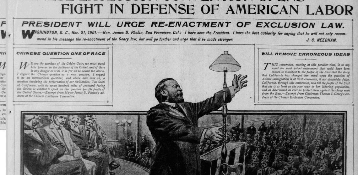 """Print article on Chinese Exclusion in San Francisco newspaper """"The Call"""", 1901"""